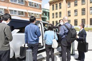 感染者搬送車の引き渡しの際に実施されたレクチャー